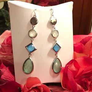 Long multicolor silver earrings